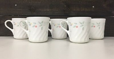 CORNING Corelle English Meadow Set 5 Coffee Mugs Petite Multi Colored Flowers