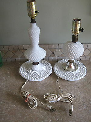 Pair of White Hobnail Vintage Bedside Table Lamps