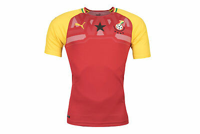 PUMA MENS GHANA 17 18 Home Short Sleeve Replica Football Shirt Red ... b8d1a3200