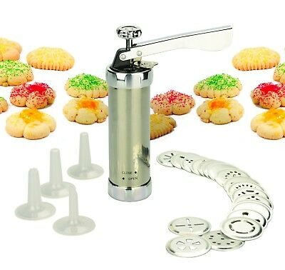 Cookie Press Maker Set includes 20 discs 4 icing tips Stainless Steel NEW