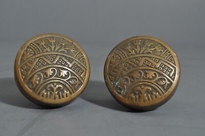 Antique Brass  DOOR KNOB PAIR EASTLAKE