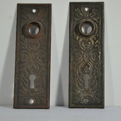 Antique Doorknob Backplates Pair Eastlake Victorian  Fancy