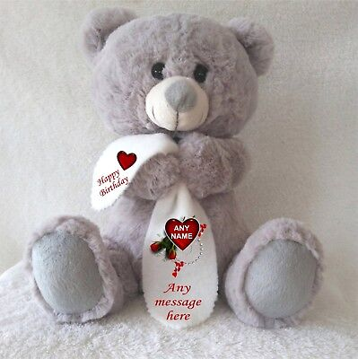 Personalised Grey Teddy Bear With Blanket  Valentines Day Valentine's Day Gifts