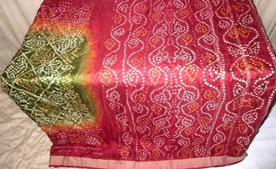 Green Maroon Pure Silk 4 yard Vintage Sari Saree SALE DEAL BARGAIN London #905FK