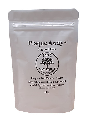 Plaque Away - Dogs & Cats- 60g - Removes Plaque& Tartar - Bad Breath