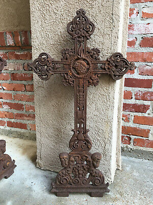 Antique French Cast Iron Cross Crucifix Chapel Garden Architectural Cemetery