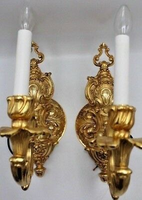 Pair of Fonderia Bronzi Artistici Italia FBAI Gilt Bronze Sconces Ornate Design
