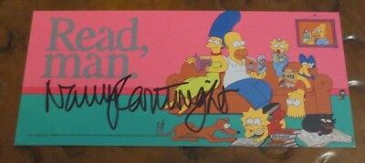 Nancy Cartwright voice of Bart Simpson signed autographed business card bookmark