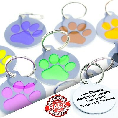 Round Paw Pet ID Tags Dog Name Tag for Collar Waterproof Name Disc Engraved Free