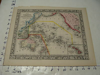Vintage Map: 1860 Mitchell Map of OCEANICA, hand colored