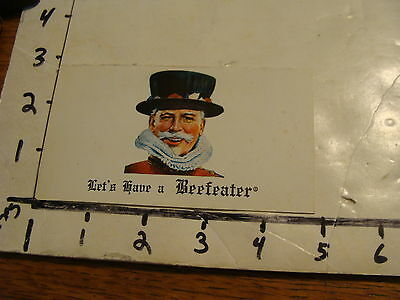"""Vintage """"let's Have A Beefeater"""" Gin Advertising Card"""