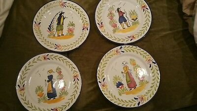 "Folk Art Plates Man and Woman Quimper Figures Made in Portugal 10"" Pottery"