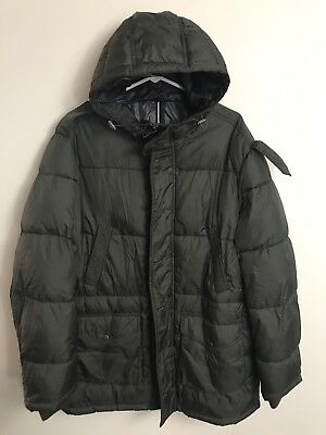 Mens Tommy Hilfiger Down Puffer Green Jacket Coat Size Large Hooded