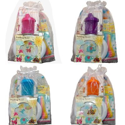 Baby Feeding Weaning 5 piece Gift Set, age 6m+ Bib Cup Bowls Spoons
