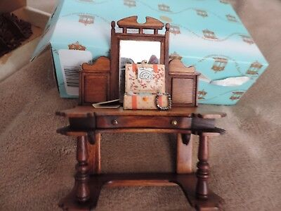 """Artisan Cabinet With Mirror & Sewing Box Signed J. Gans- 4"""" Wide By 5"""""""