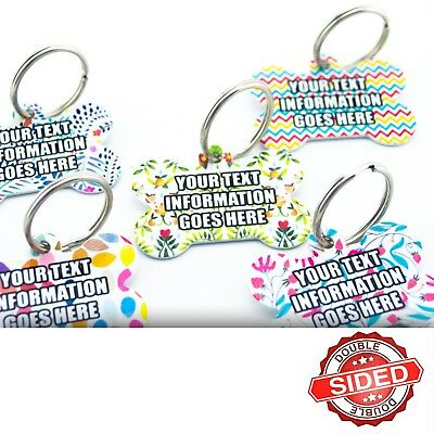 Personalised Cute Pet Tags Fun Colourful Patterns Dog Name ID Tags Engraved FREE