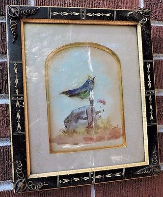 Antique 19C Victorian EASTLAKE Black Ebonized METAL WIRE Corners Bird ART 8 x 10