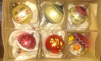 Large 6 Beautiful Vintage Old Antique Christmas Glass Ornaments