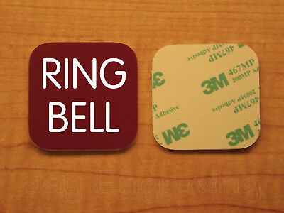 Engraved 3x3 RING BELL Plastic Tag Sign Plate | Doorbell Plaque | Any Color!