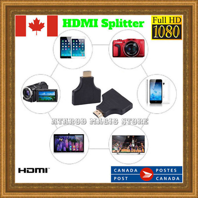1080P HDMI Port Converter Male to 2 Female HDMI Out Splitter Adapter