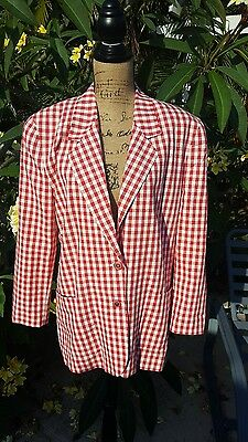 Vintage The Limited Size Medium Red and White Checked Cotton Blazer