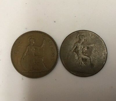 1916 & 1938 UK Great Britain British One 1 Penny WWI Era George V Coin *TT32 *C9
