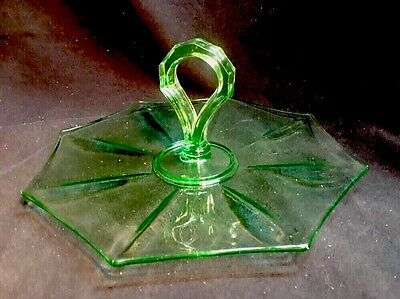 Vintage Green Vaseline Glass / Depression Ware Hexagon Serving Dish Tidbit Tray