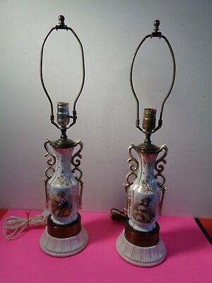 "Antique Pair of French Porcelain Hand Painted Lamps With Gold Trim (25 by 6"")"