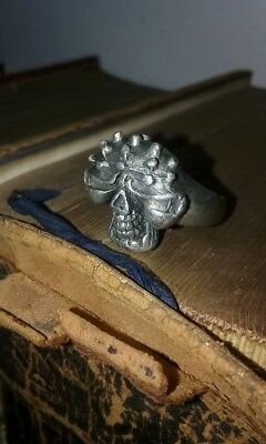 READ - Haunted Antique Steel Skull Ring - Occult, Satanic - Private Collection