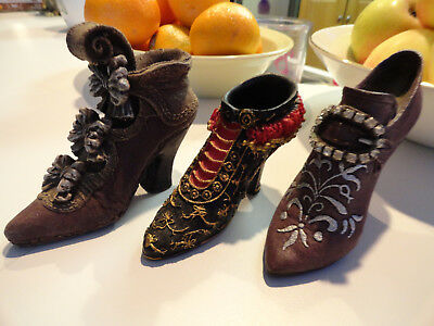 JUST THE RIGHT SHOE, MY TREASURES AND Unnamed Set of 3 Collectible Shoe Figurine