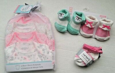 Newborn and 0-3 Baby Girl Lot Clothes Carter's Bodysuit Socks Booties - ALL NEW