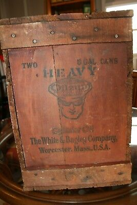 Very Rare Vintage/Antique OILZUM Shipping Box - Authentic and Complete Wood Box