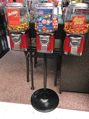 Triple Bulk Vending Machine and Stand RED with GUMBALL CANDY WHEEL 25¢ w/ Keys