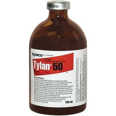 Tylan 50 100ml Beef Cattle Dairy Cattle Swine Injectable Antibiotic Elanco