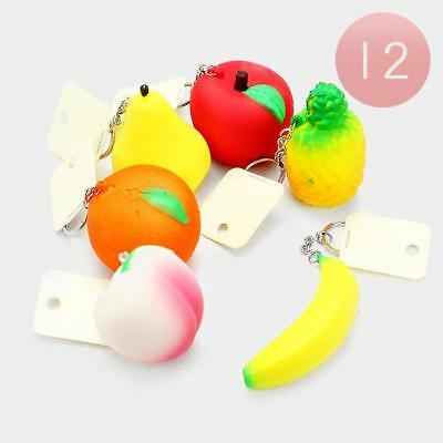 36 Assorted Fruit Round/Heart Donut Squishy Keychain Stress Relief Fun Wholesale