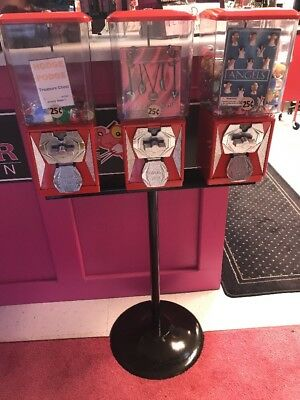 Triple Bulk Vending Machine and Stand RED with Toys or CANDY WHEEL 25¢ w/ Keys