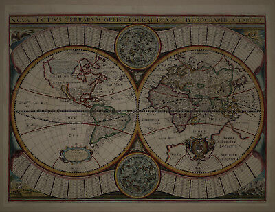 1645 Elegant Genuine Antique map Double Hemispheres. California Island. Sonnis