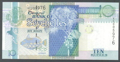 Seychelles 10 Rupees ND(1998) P36 UNC**New sign
