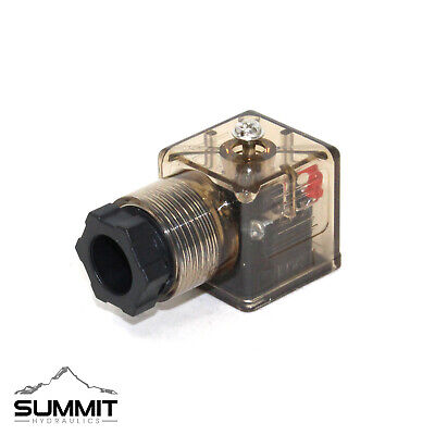 DIN 43650 Type A Solenoid Connector w/ LED Indicator Light for Hydraulic Valves