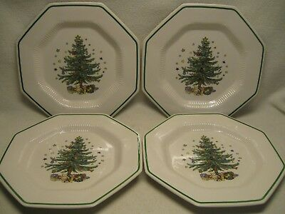 "Nikko Christmastime (4) 10 3/4"" Dinner Plates Made in Japan Very Good"