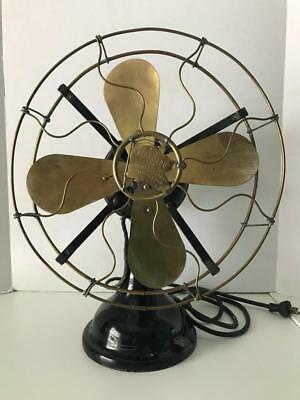 Vintage 1912  Robbins & Myers  Model No. 1153 12 Inch Brass Blade Electric Fan