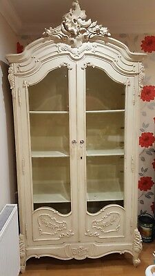 Beautiful French Antique Double Door Glazed Rococo Display / Armoire