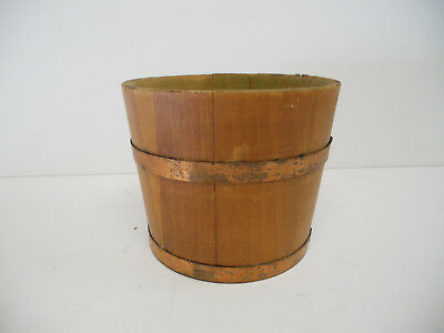 Antique Wood Pot Bucket Half Barrel Planter Plant Container Small Vintage Fall
