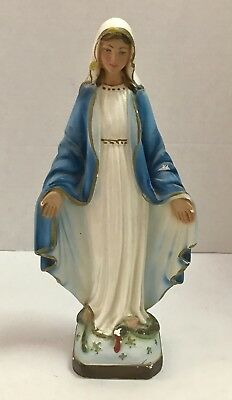 """Vintage Virgin Mary Our Lady of Miraculous Medal Chalkware Statue 12"""""""