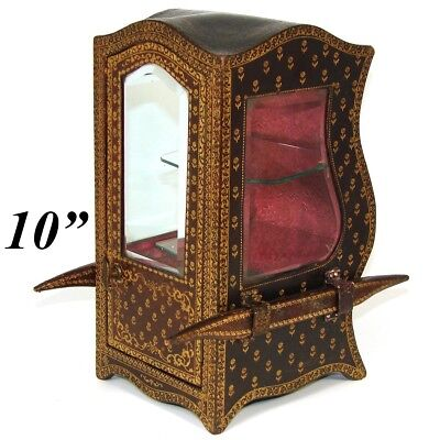 """Antique French 10"""" Gold Embossed Leather Covered Miniature Sedan Vitrine, Box"""