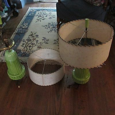 Two Drip glaze mid century Green Lamps with Original Shades