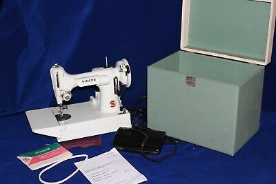 Feather Weight 221K White Sewing Machine W/case Runs Like A Champ