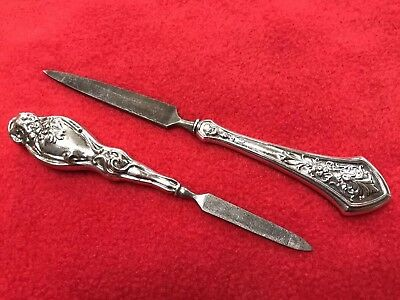 Antique Webster Art Sterling Silver Puffy Handled Nail File Lot Of Two!