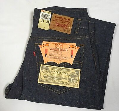 VTG NWT Levi's 501 Jeans Denim 33 x 38 Button Fly 1987 Shrink to Fit Cotton USA