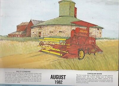 1982 Massey Ferguson Calendar, Old Tractors & Equipment Illustration, Wheaton Mn